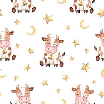 Watercolor brown baby cow and stars seamless pattern