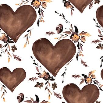 水彩の茶色の心と黒い花のシームレスパターン