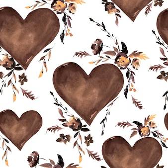 Watercolor brown hearts and black flowers seamless pattern
