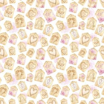흰색 바탕에 수채화 갈색 종이 사랑 태그 원활한 패턴