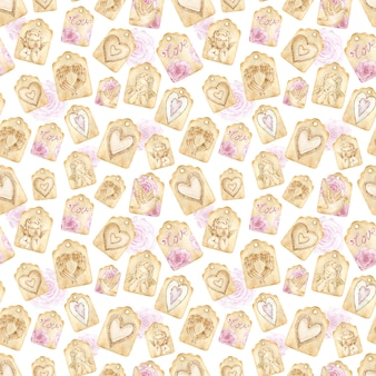 Watercolor brown paper love tag seamless pattern on the white background