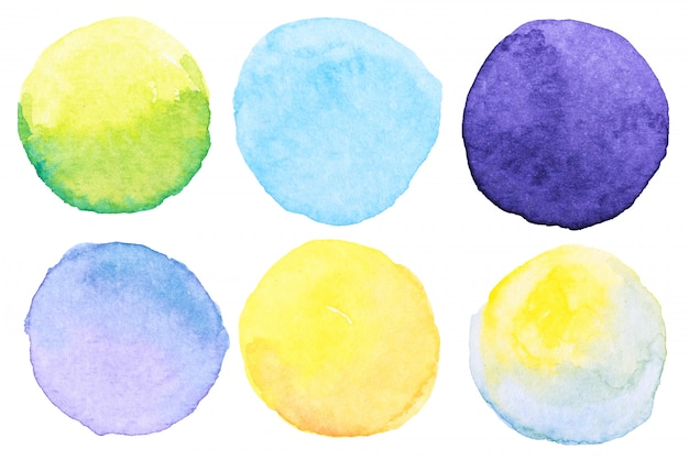 Watercolor brush paint circles shape with a hand drawn in the paper on white background