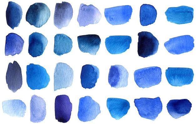 青い色合いの水彩ブラシストローク