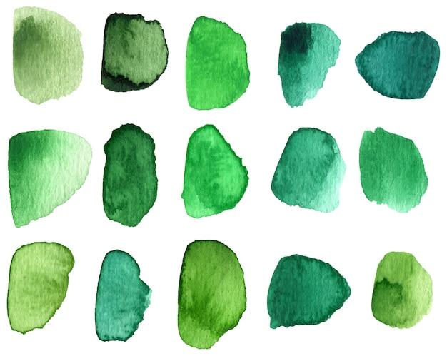 녹색 음영의 수채화 브러시 스톡