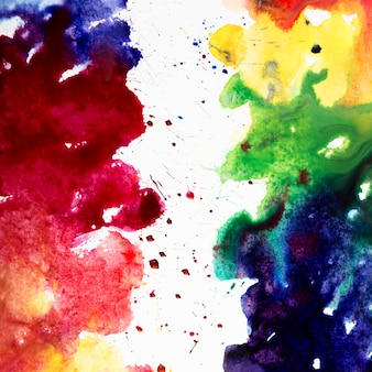 Watercolor brush strokes with rainbow colors