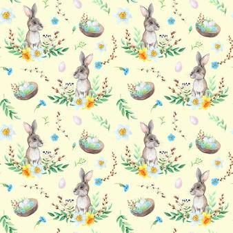 黄色の背景にパターンを描く卵と水彩のウサギ。イースターのコンセプト。