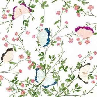 白い背景の上の水彩蝶と野花のシームレスなパターン