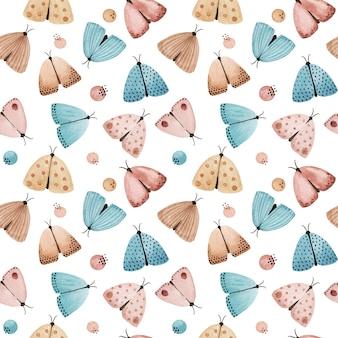水彩蝶、蛾のシームレスなパターン。夜の蛾の背景。テキスタイル、ファブリックプリント