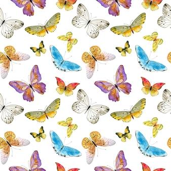 白い背景の水彩蝶のパターン。