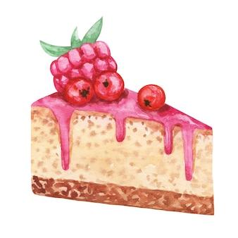 水彩ケーキスライスイラスト、ケーキのクリップアート、ラズベリーの描画と甘いデザート