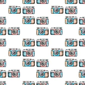 Watercolor camera seamless pattern