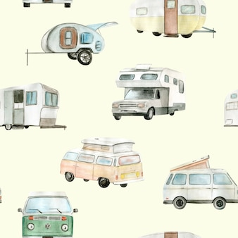 Watercolor camper van, car seamless pattern. hand painted illustration.
