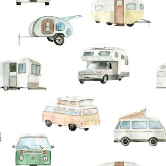 Watercolor camper van car seamless pattern hand painted illustration