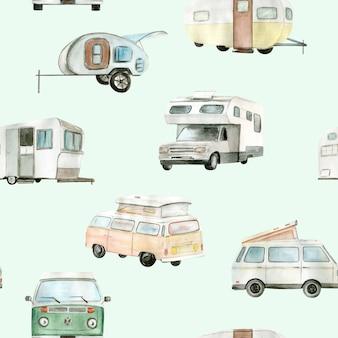 Watercolor camper van, car seamless pattern