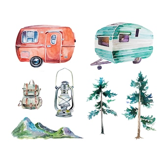 Watercolor camping vans, lantern, backpack, trees and mountains set