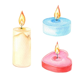 Watercolor candles on a white
