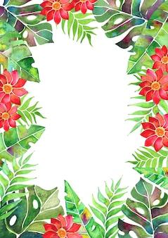 열대 잎과 꽃이 있는 수채화 카드 배열