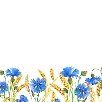 Watercolor card with cornflowers, ears of ripe wheat. beautiful bright bouquet of blue flowers