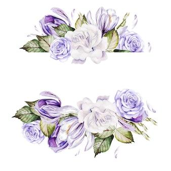 バラとクロッカスの花の水彩画カード