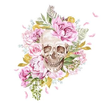 頭蓋骨とさまざまな花の水彩画カード