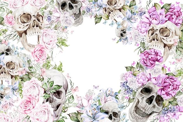 頭蓋骨と花のバラ、ユリ、牡丹の水彩画カード。図