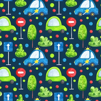 Watercolor cars on blue background seamless pattern cartoon transport repeat print