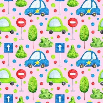 분홍색 배경 원활한 패턴에 수채화 자동차 만화 전송 반복 인쇄