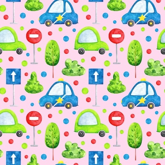 Watercolor cars on pink background seamless pattern cartoon transport repeat print