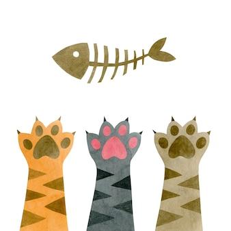 Акварельные кошачьи лапы и скелет рыбы, изолированные на белом фоне