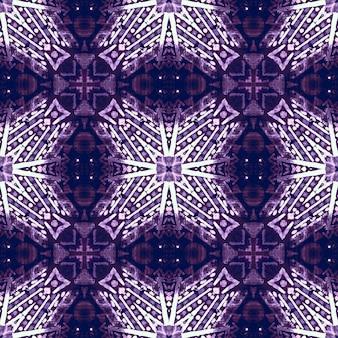 Watercolor ceramic tile geometric background. purple seamless pattern.