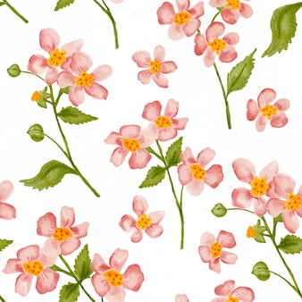 Watercolor cherry blossom seamless pattern background