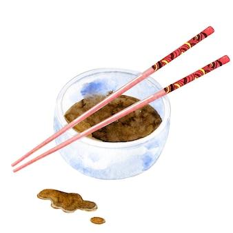 カップに水彩の中国の箸と醤油