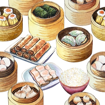 Watercolor chinese food dim sum seamless pattern.