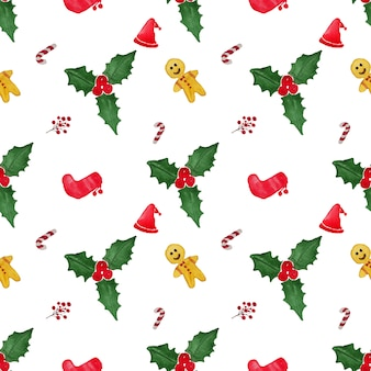 Watercolor chirstmas ornaments in seamless pattern
