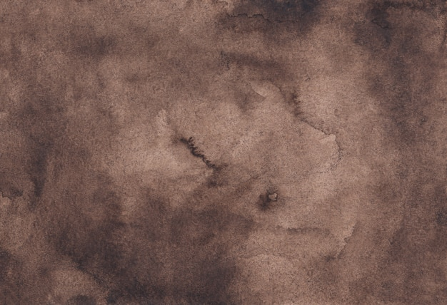 Watercolor chocolate brown background texture, hand painted. watercolour abstract old background.