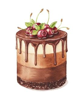 さくらんぼを飾った水彩チョコレートケーキ