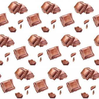 Watercolor chocolate seamless pattern