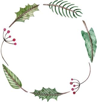 水彩のクリスマスと新年のシンプルな丸い花輪-モミの木、ヤドリギ、果実。緑の冬のフレーム。