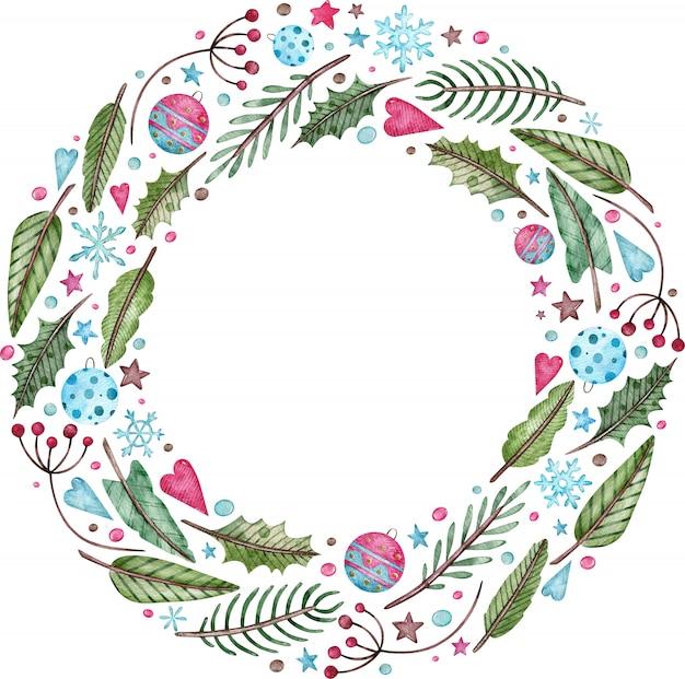 水彩のクリスマスと新年の花輪-モミの木、ヤドリギ、果実。丸い緑の冬のフレーム。