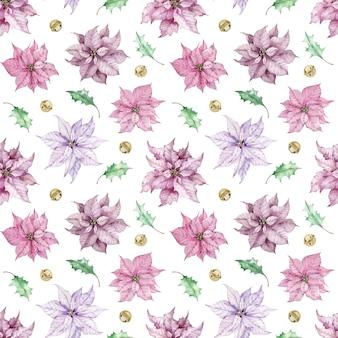 ピンクのポインセチアの花、緑の葉とジングルベルと水彩のクリスマスの背景。冬のシームレスなパターン。