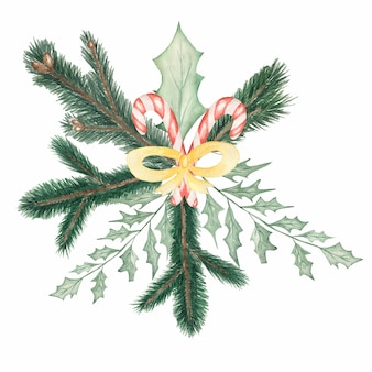 Watercolor christmas bouquet with leaves.