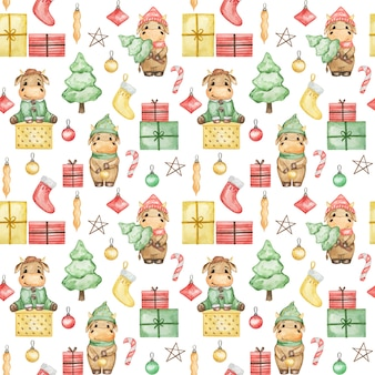 Watercolor christmas bulls 2021 seamless pattern, cute new year background, cartoon christmas wallpaper, xmas textile print