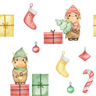 Watercolor christmas bulls seamless pattern, new year 2021 pattern, cute christmas bulls background, wrapping papaer, textile pattern
