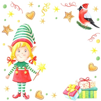 Watercolor christmas card with girl elf with magic wand