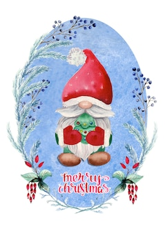 Watercolor christmas card with gnome