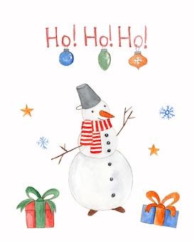 Акварельная рождественская открытка с шарами снеговика и подарочными коробками на белом фоне с поздравительным текстом