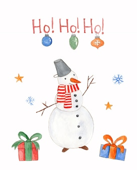 Watercolor christmas card with snowman baubles and gift boxes on white background with greeting text
