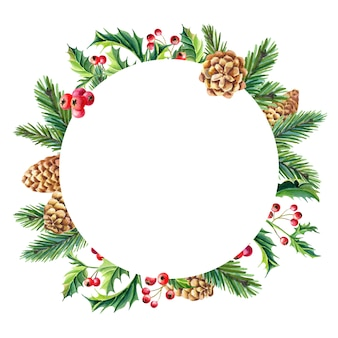 Watercolor christmas circle frame on white background
