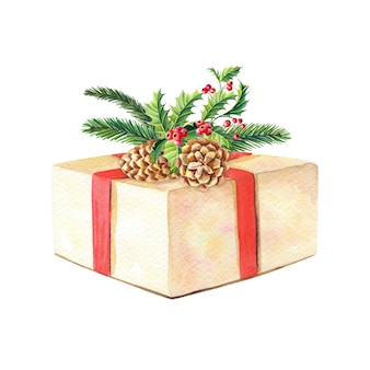 Watercolor christmas composition with gift box, fir branches, cones, holly.
