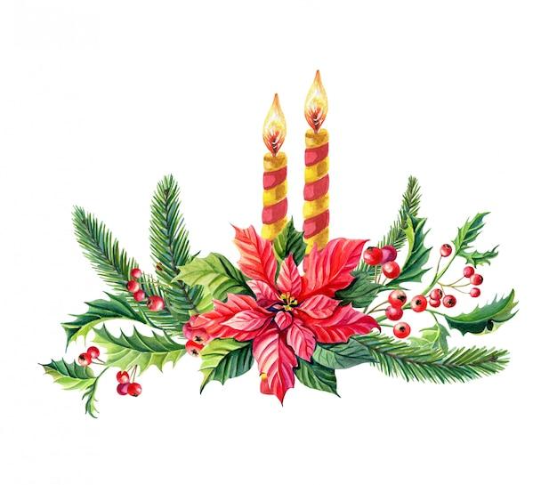 赤いポインセチアの花と水彩のクリスマス組成